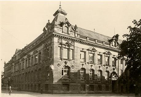 Historie der BBBank: Bürogebäude zur Gründungszeit 1921, als die BBBank als Selbsthilfeeinrichtung für den öffentlichen Dienst in Karlsruhe gegründet wurde.